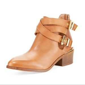 Seychelles Tan Leather Cross Strap Ankle Booties 6